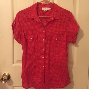 H&M Mod Pin up Red Polka Dot Darted Shirt!